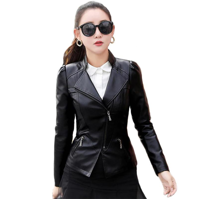Faux leather jacket women black plus size 2020 spring autumn new Korean short slim zipper pockets PU moto coats feminina JD790