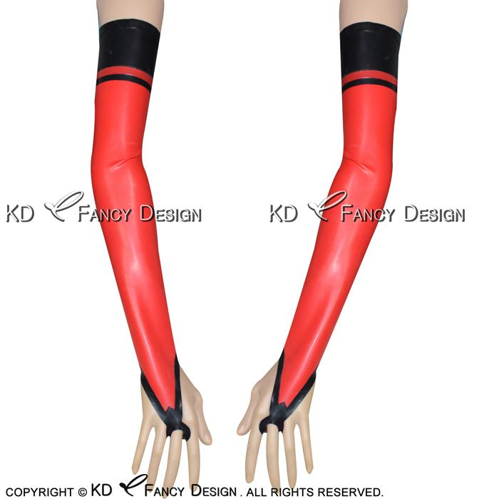Red With Black Sexy Fingerless Long Latex Gloves With Stripes Rubber Mittens Plus Size Hot Sales ST-0025
