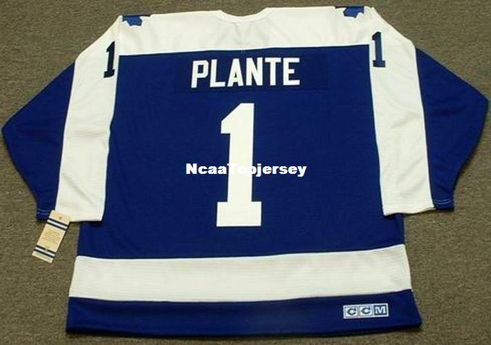 benutzerdefinierte Jerseys # 1 JACQUES PLANTE Toronto Maple Leafs 1972 CCM Vintage Günstige Retro Hockey Jersey