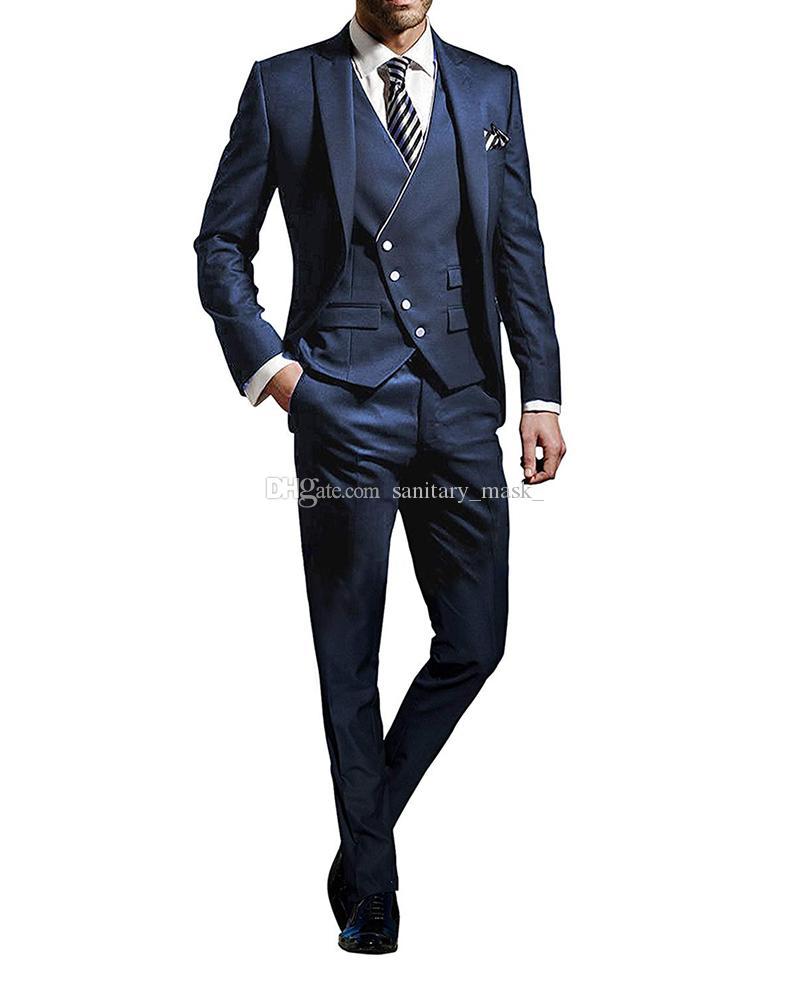 Новые официальные партии Мужских костюмов для венчания 3 шт Мужских костюмов ШАРПА отворот Groom костюмы Slim Fit заказ Человек дружки смокинг костюм
