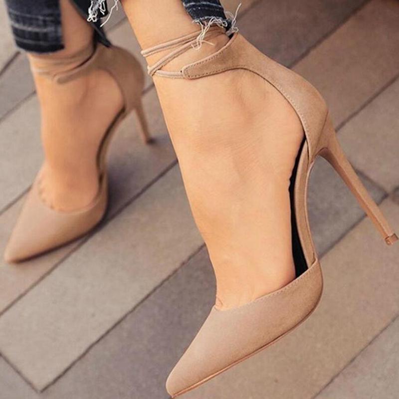 Venda quente-Vestido Novas Mulheres de Salto Alto Bombas Sexy Stiletto Dedo Apontado Do Partido Tornozelo Com Tiras De Salto Alto Sapatos de Casamento Das Senhoras Pretas