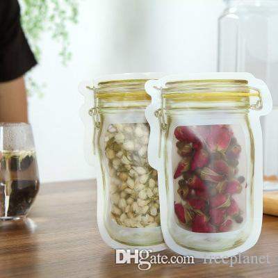 2018 Caja de seguridad cremalleras bolsas de almacenamiento de plástico en forma de jarra Mason Venta envase de alimento Resuable Eco Friendly Snacks caliente bolsa 2 2PJ BB