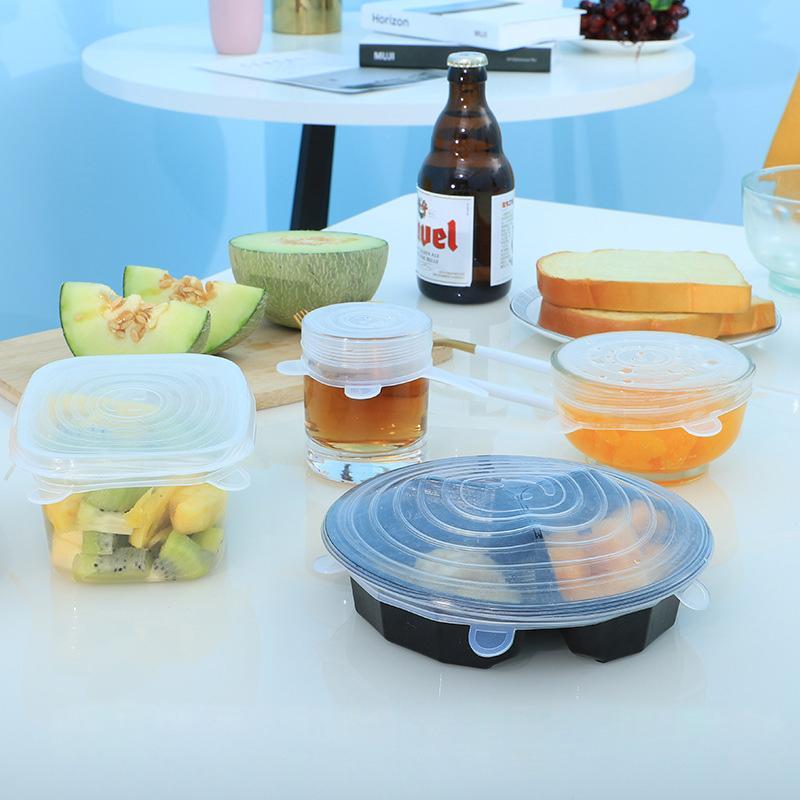 4 color 6pcs silicona alimenticias stretch tapas reutilizable universal Alimentos Silicona Wrap Tazón bote hermético de la tapa Accesorios de Cocina