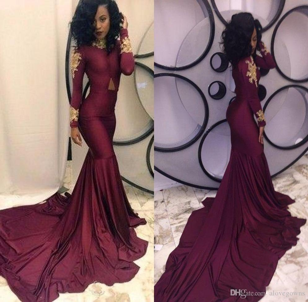 Sexy Borgogna Mermaid Black Girls Prom Dresses 2019 New Manica lunga oro pizzo Applique Sweep Strain Formal Evening Dress Party Gowns