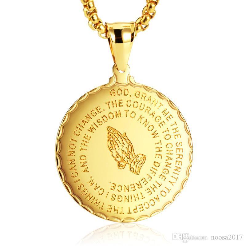 جولة الصلاة ميدالية قلادة قلادة على كلا الجانبين نمط رجال الفولاذ المقاوم للصدأ القلائد الذهب والفضة بالجملة الأسود