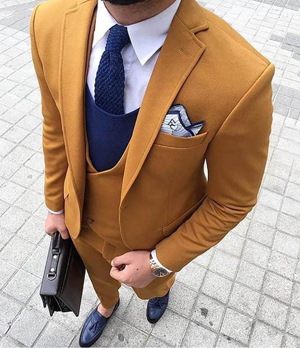 New 3 Pieces Men Suits Latest Coat Pant Designs Slim Fit Wedding Suits for Men One Button Formal Groom Tuxedo Suit