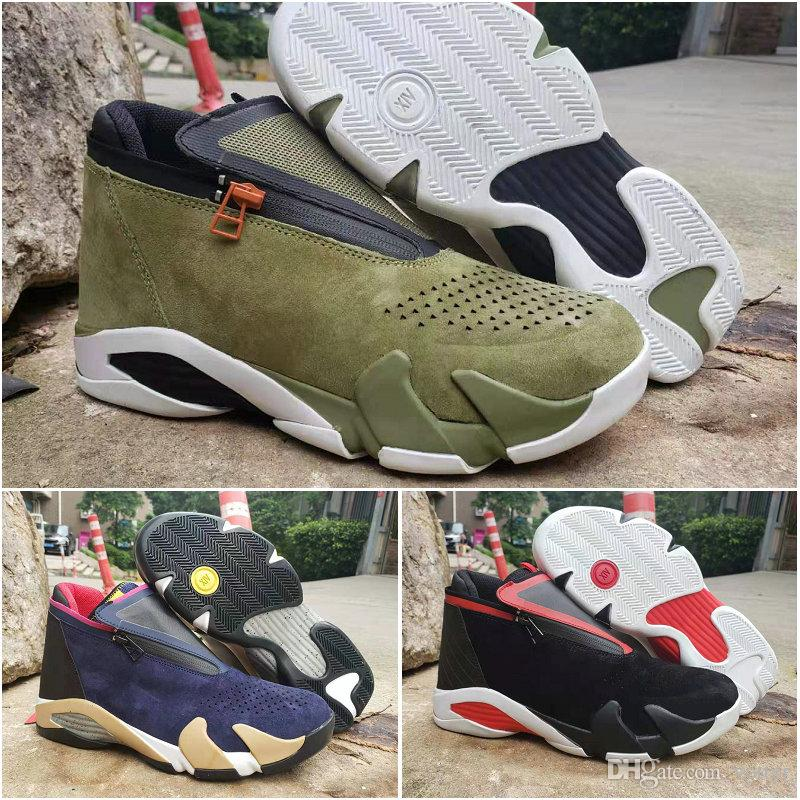 2019 Mens 14 Zipper Basketball Shoes Designer Sneakers Suede Mesh Olive Last Shot Black Red Jumpman 14s XIV des Chaussures Hommes Trainers