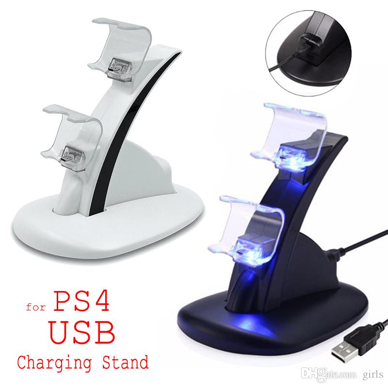 LED Dual Charger Dock Mount USB зарядная подставка для PlayStation 4 PS4 Xbox One Gaming Wireless Controller с розничной коробкой ePacket Free