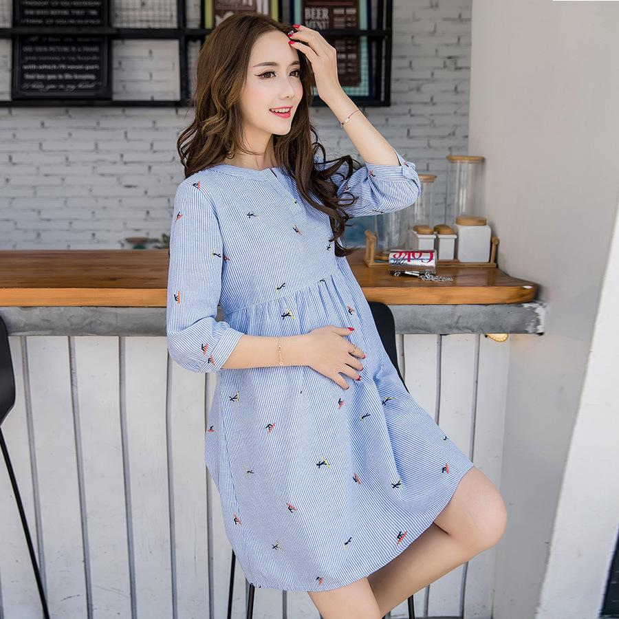 2021 Cute Elegant Maternity Clothes Pregnancy Summer Short Sleeve Cotton Pregnant Dress Blue Nursing Clothes For Pregnant Women M 2xl From Qingshuixuan 86 68 Dhgate Com