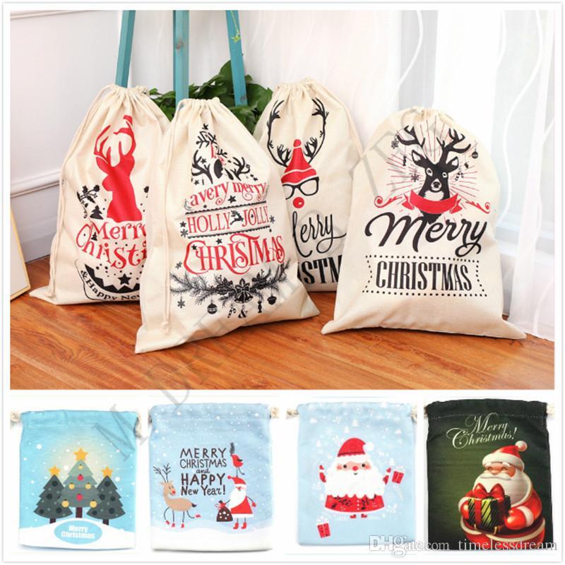 Regalo di Natale Borse 9 disegni 2 formati Candy Bag di Santa Sacco sacchetta con le renne di Babbo Natale Sacca Borse sacchetto di immagazzinaggio per bambini