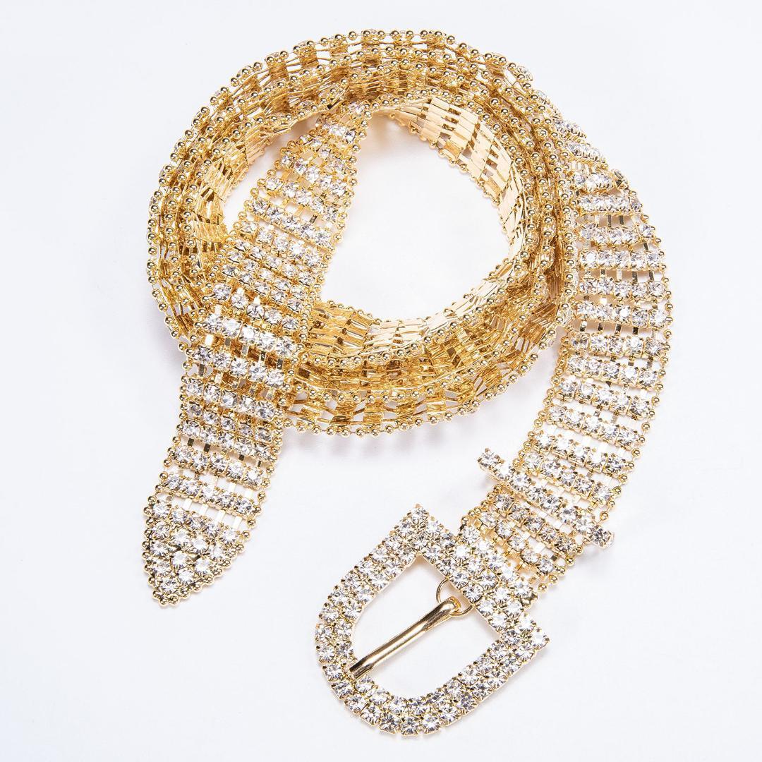 Nouveau Femme de diamant d'or Ceinture Cristal Femmes brillant brillant strass ceinture pour la mariée mariage Sliver Collier Barry.Wang1018