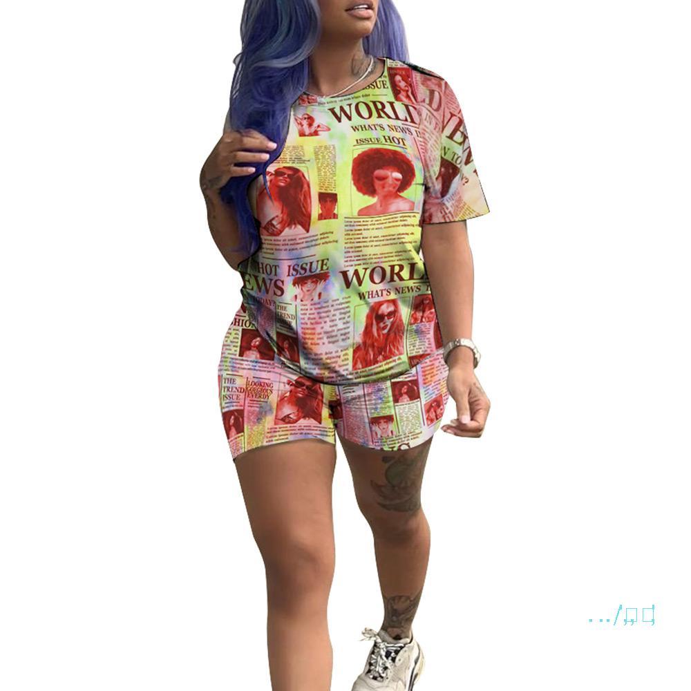 Contraste das mulheres Cor jornal Treino Verão Impresso Manga Curta Tops + Shorts 2 Pieces Sets Outdoor Casual Sportswear Roupa D4209