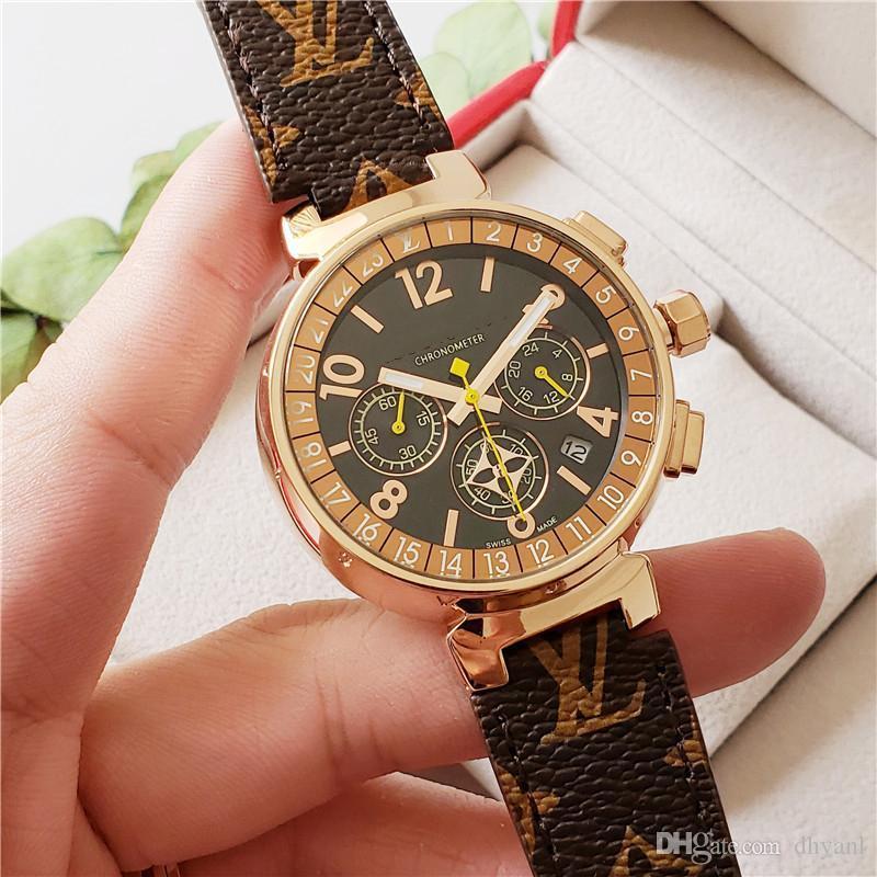 Hochwertiges Kupfer Fall volles Funktion Quarzwerk Uhren Alle Zifferblätter arbeiten Stoppuhr Luxus Frauen-Uhr mit Kalender Lederband Geschenk