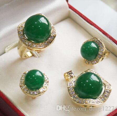 Frete Grátis Especial 0052 Jades colgante (14mm) pendentes (10mm) anillo (14mm) Conjuntos de moda de la joyería
