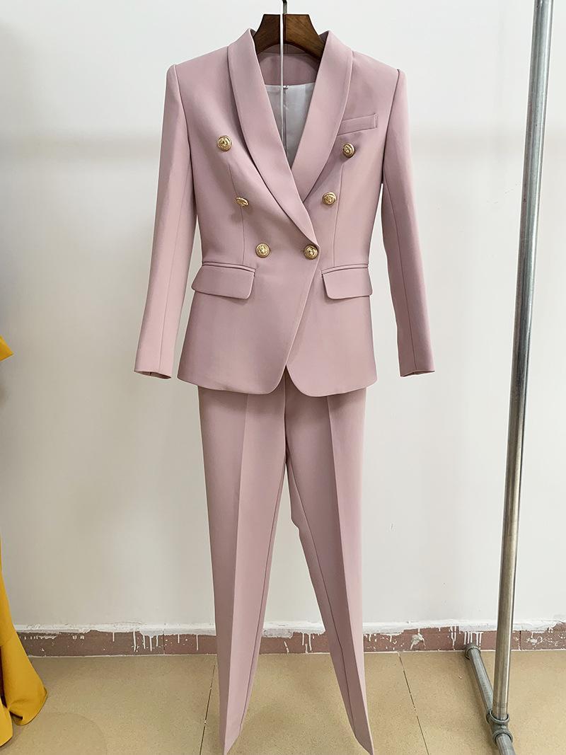 브랜드 NWT 최고 품질 원래 디자인 여성의 슬림 재킷 더블 브레스트 금속 버클 정장 발목 길이 바지