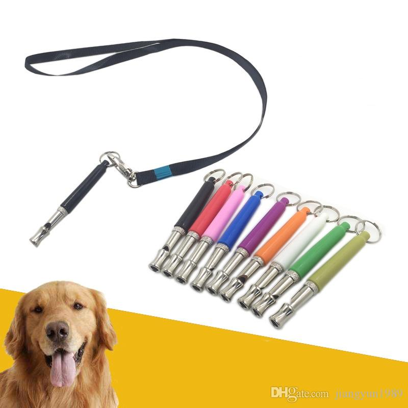 High Quality Ultrasonic Dogs Whistle Metal Whistle Dogs For Training With Keychain Key Ring With Rope 9 Colors DHL Free Shipping