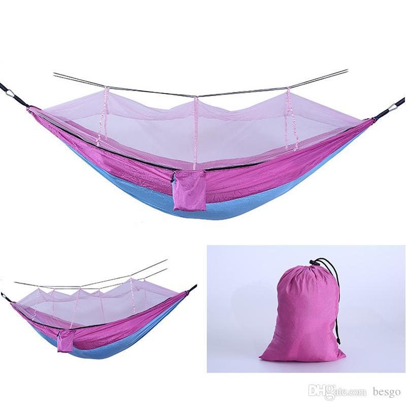 Dobrável Mosquito Net Hammock Parachute pano Outdoor Hammock campo Camping Tent Jardim Camping balanço pendurado Cama Com VT1737 Corda Gancho