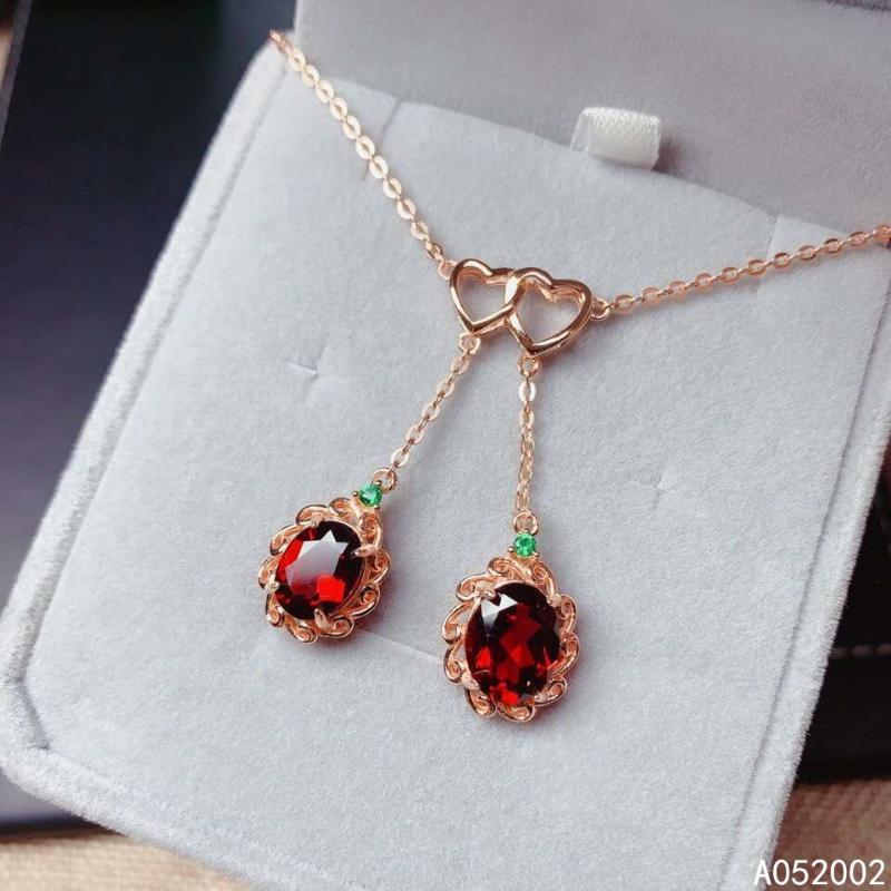 KJJEAXCMY edlen Schmuck natürliche Granat 925 Sterlingsilber neue Frauen Halskette Kette Unterstützung Test schöner heißen Verkauf