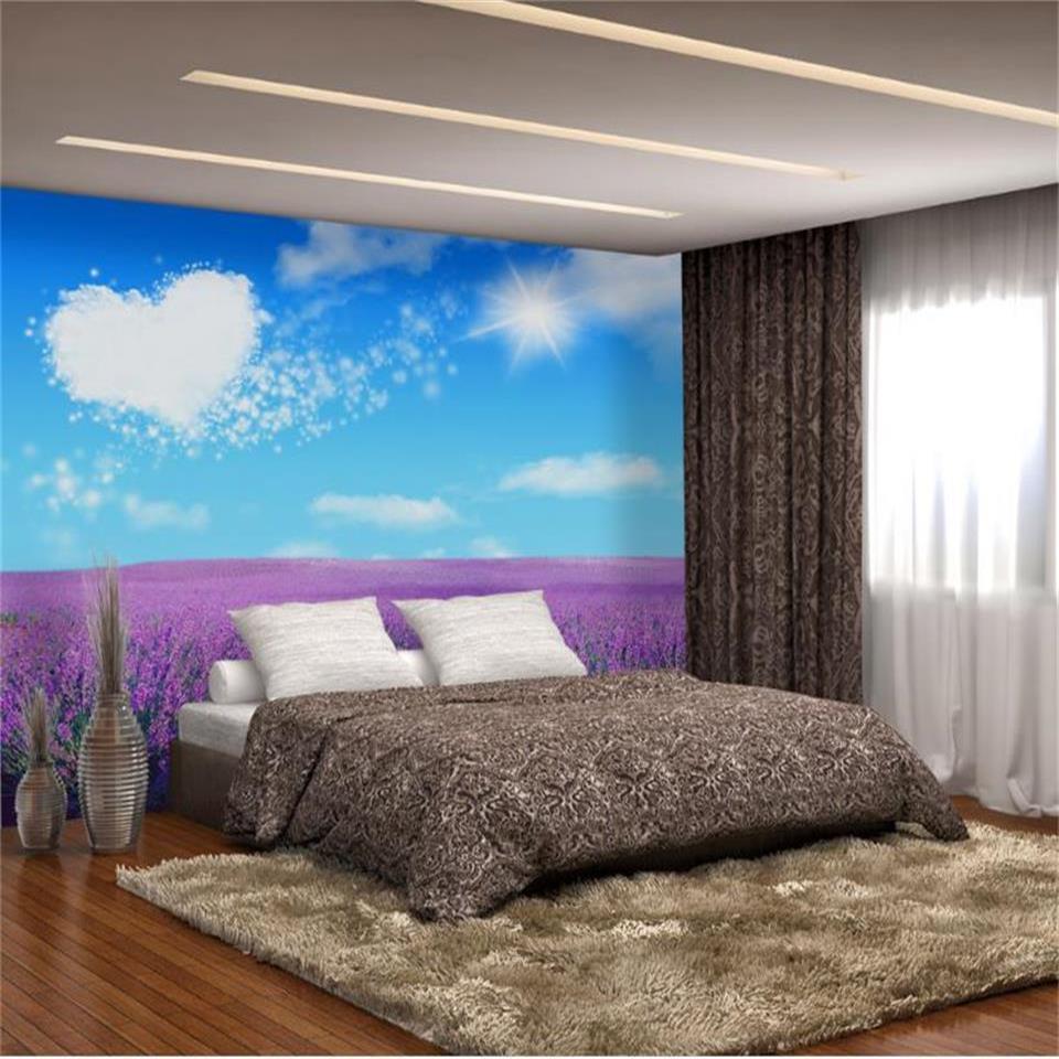 photo 3d format personnalisé papier peint fenêtre lavande mur de briques salon peinture murale paysage 3d image canapé sticker mural mur papier peint toile de fond TV