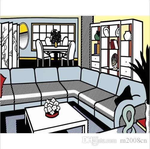 Lichtenstein Roy Intérieur Avec Masque Africain de Haute Qualité Peint À La Main Célèbre Abstraite Art Peinture À L'huile Mur Art Sur Toile Cadre Option ry17