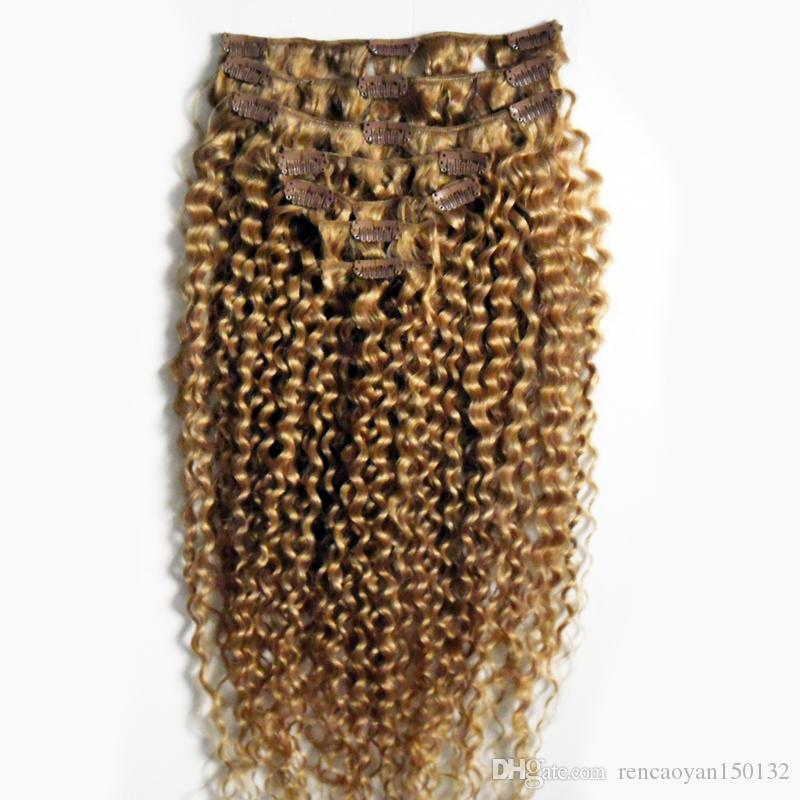 Kinky Curly Clip In Human Hair Extensions 7pcs/Set Virgin Mongolian Curly Hair Full Head Clip-in Remy Hair Extensions Free Shipping