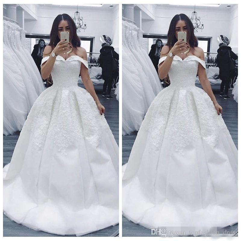 2019 Elegante del hombro A-Line Vestidos de novia Apliques de encaje Satin Sweep Treen Hecho personalizado MÁS TAMAÑO JARDÍN VITAVER