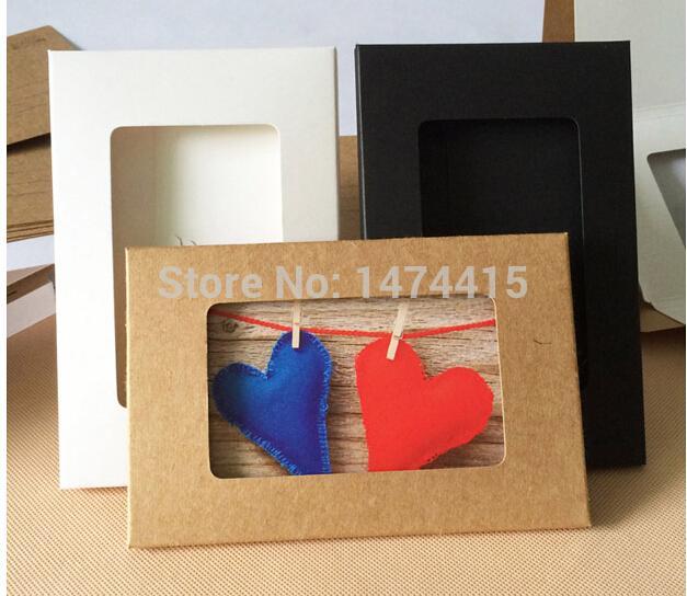 """50pcs 6 """"x4"""" janela caixas de papel kraft dobráveis caixa de exibição da foto, caso cartão branco, kraft caixas de fotografias 15,5 * 10,2 * 0,5 centímetros para"""