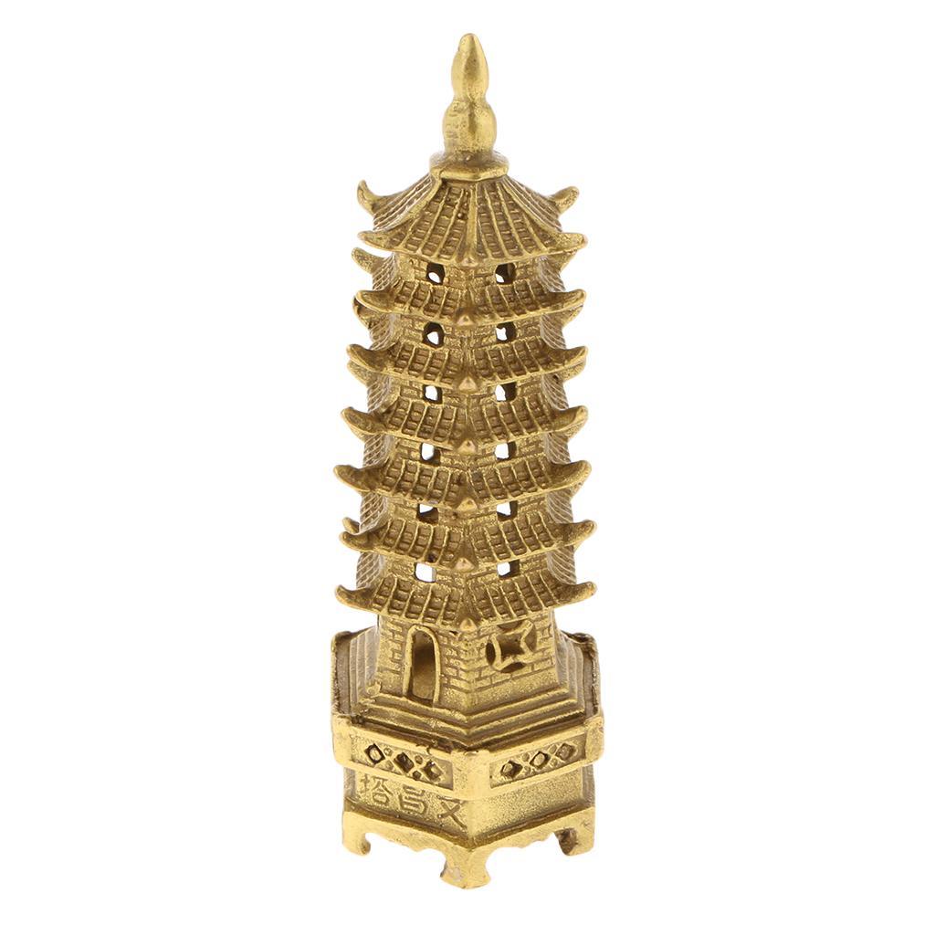 중국 민속 황동 구리 불교 사원 원자바오 장 파고다 타워 해골 탑 동상 장식품