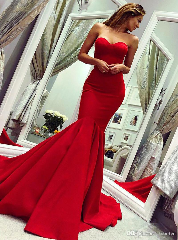 Robes de Soiree Red Evening Dresses Mermaid Prom Dress Long Cheap Strapless Sweetheart Neckline Party Formal Gowns Vestidos de Fiesta