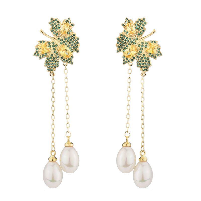 Long Pearls Maple Leaf Pendant Earrings For Women New Fashion Brand Jewelry Cubic Zirconia Silver Tassel Earring Female Wedding Ear Studs