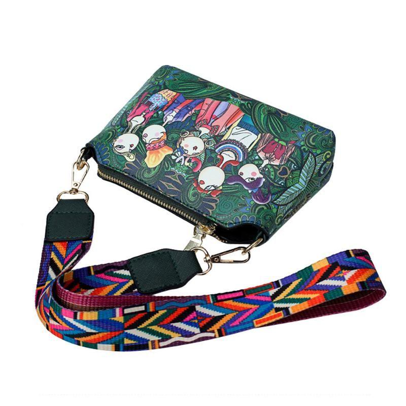 Женщины Девушки печати одного плеча Красочные ремни сумки Креста тела New Vintage сумка Простые поездки Простой мешок