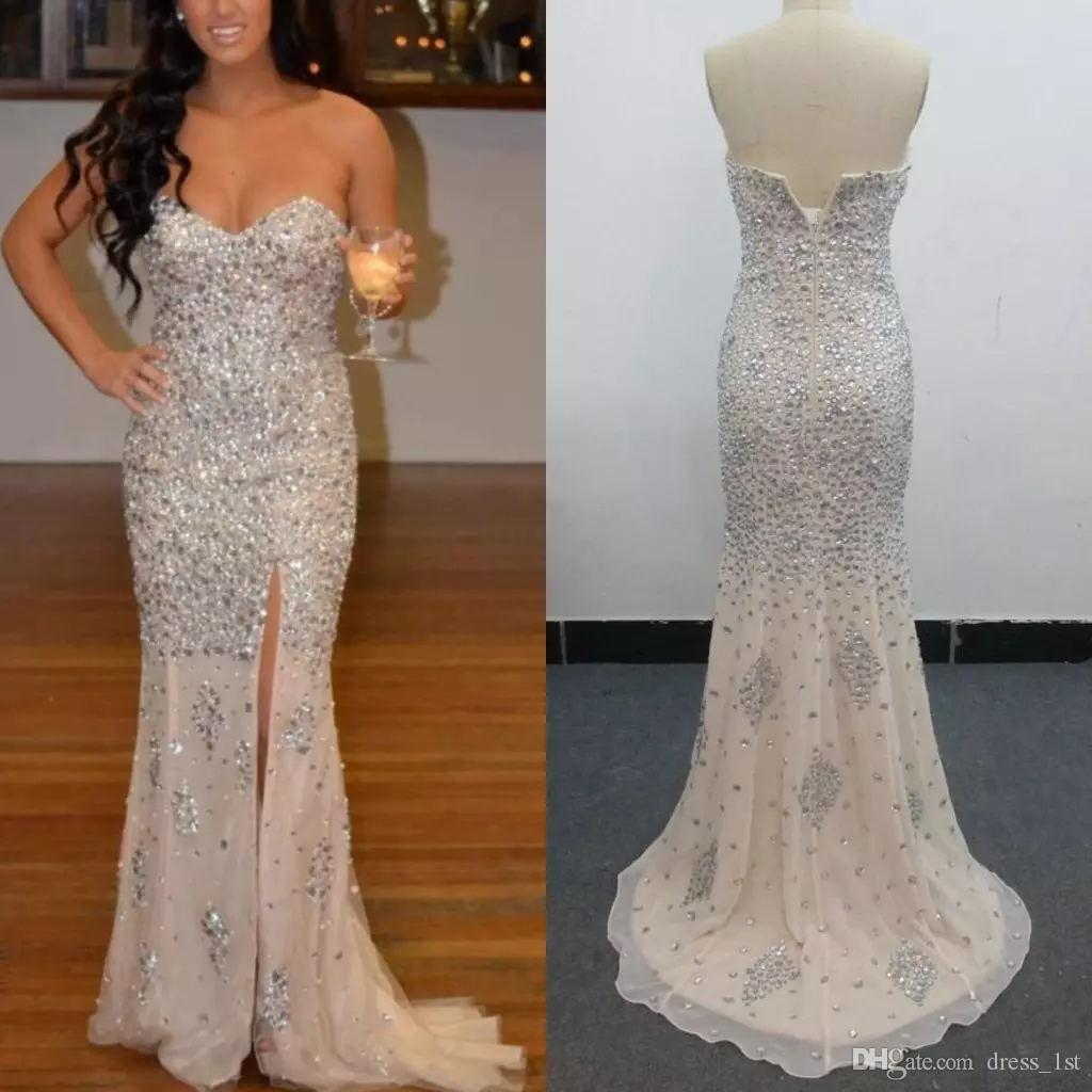 Luxury 2019 Heavy Beaded Evening Dresses Real Images Sweetheart Neckline Side Split Mermaid Silver Diamonds Champagne Chiffon Prom Dresses