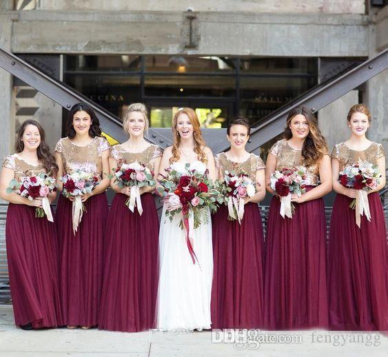 Элегантные платья подружки для подружки невесты с бордовым темно-синим синевым блестком.