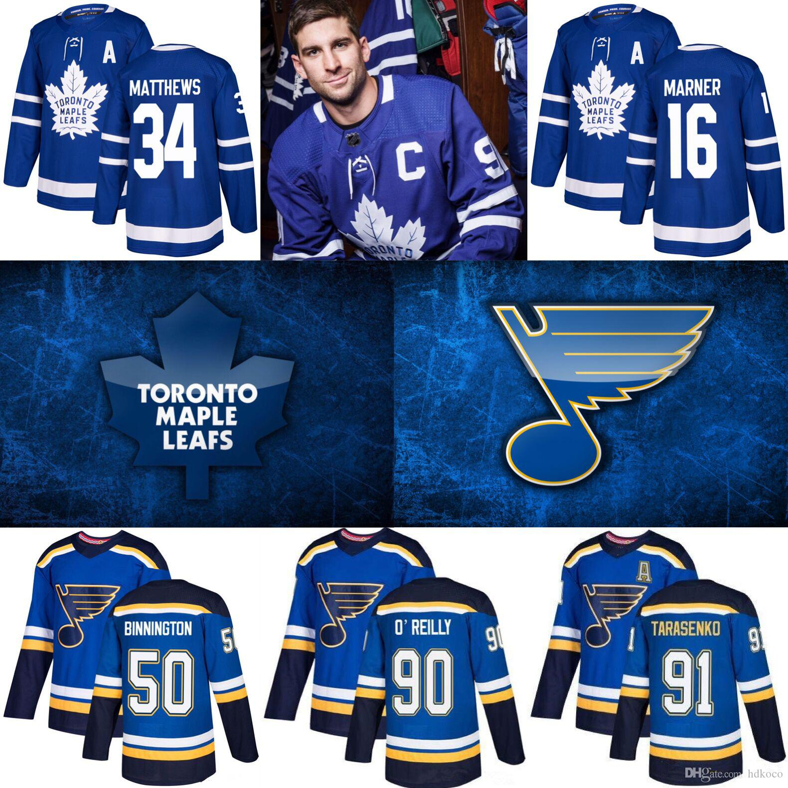St. Louis Blues Jersey 2019 Stanley Cup Champions Toronto Maple Leafs William Nylander Hockey Jerseys 91 Tarasenko 90 O'Reilly 17 Schwartz