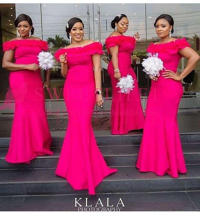 2019 África Do Sul Estilo Vermelho Da Dama de Honra Vestidos Fora Do Ombro Flora Apliques Sereia Empregada Doméstica De Casamento Convidado Vestido Feito Sob Encomenda Barato