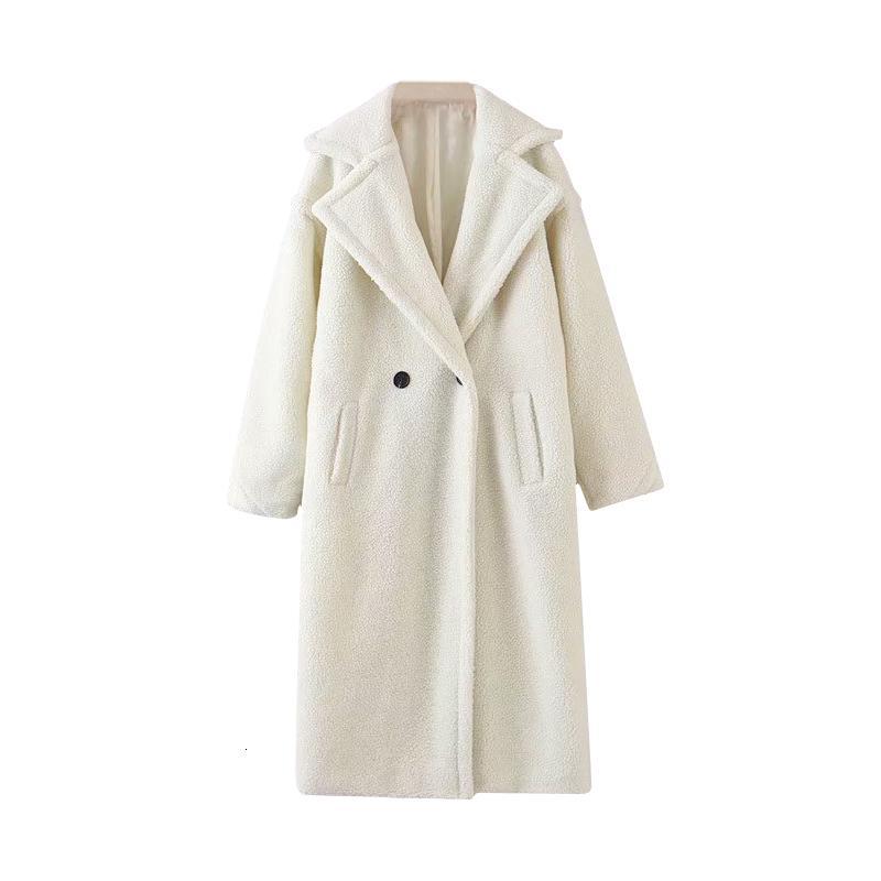 Invierno capa ocasional de peluche Sólido Mujeres camiseta de manga larga chaqueta de paño grueso y suave largo Señora gira el collar abajo Escudo piel del cordero de vestir exteriores Fourrure Femme T191031