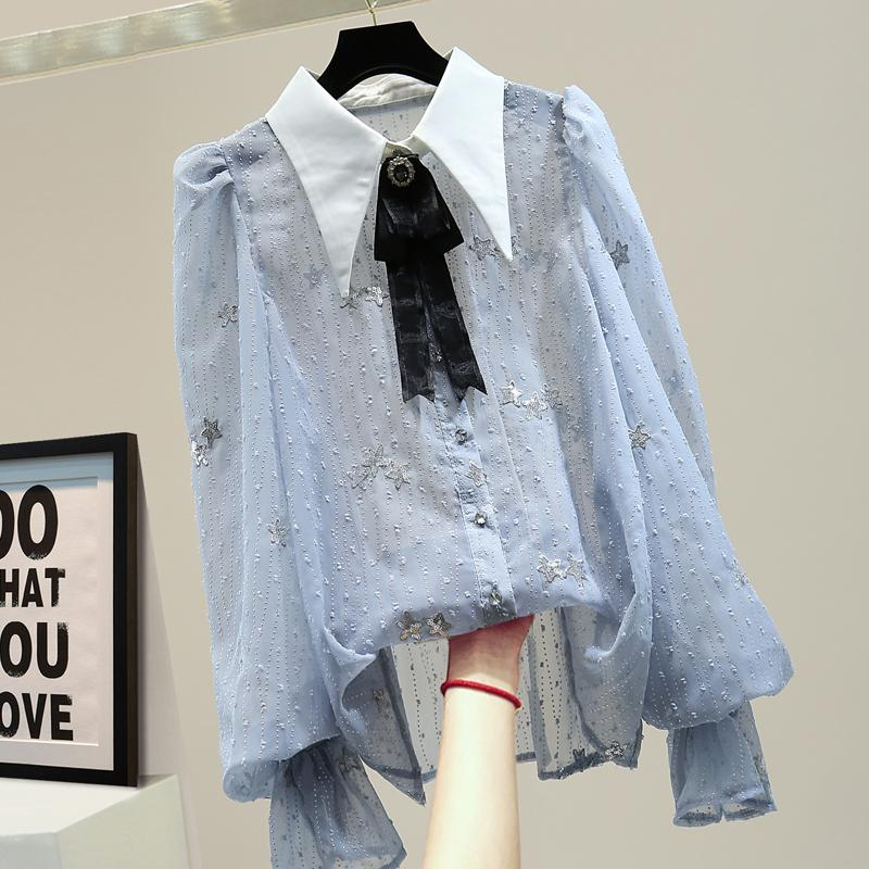 2020 Летняя кофточки женщины Сыпучие Sequined Полосатая блузка Мода Темперамент Perspective лук отворотом шифон рубашка Blusas Femme