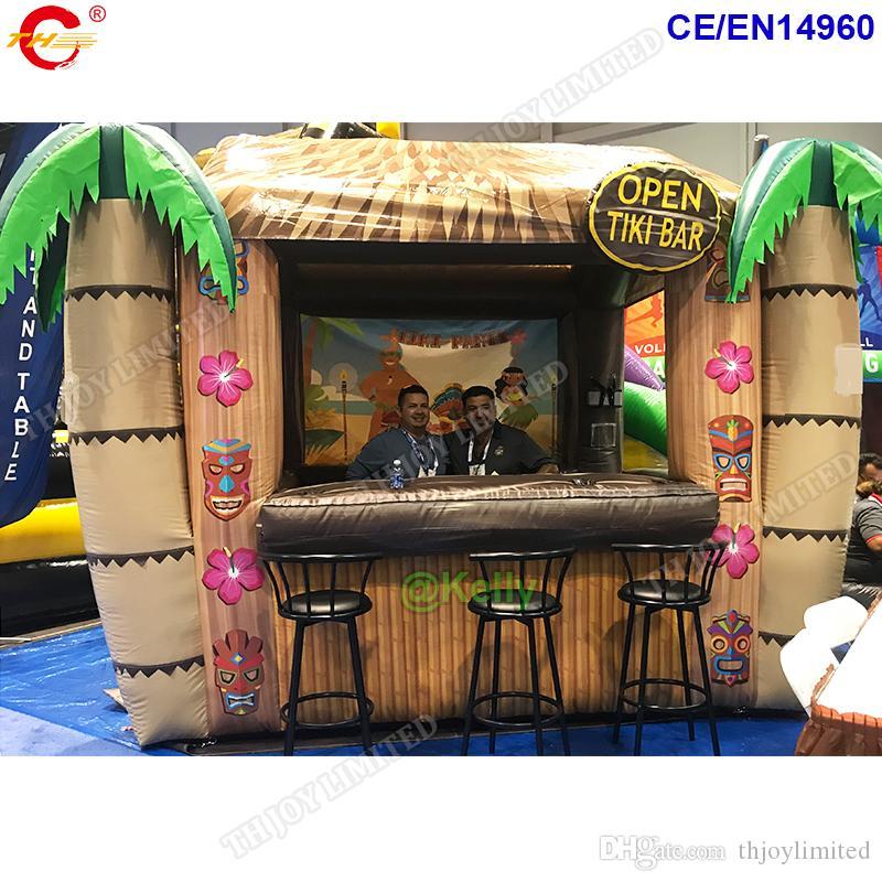تقدم مجانا الشحن باب مخصص للنفخ شريط كوخ تيكي المحمولة لشاطئ الصيف أكشاك نفخ تيكي مطعم للوجبات الخفيفة مع الطباعة