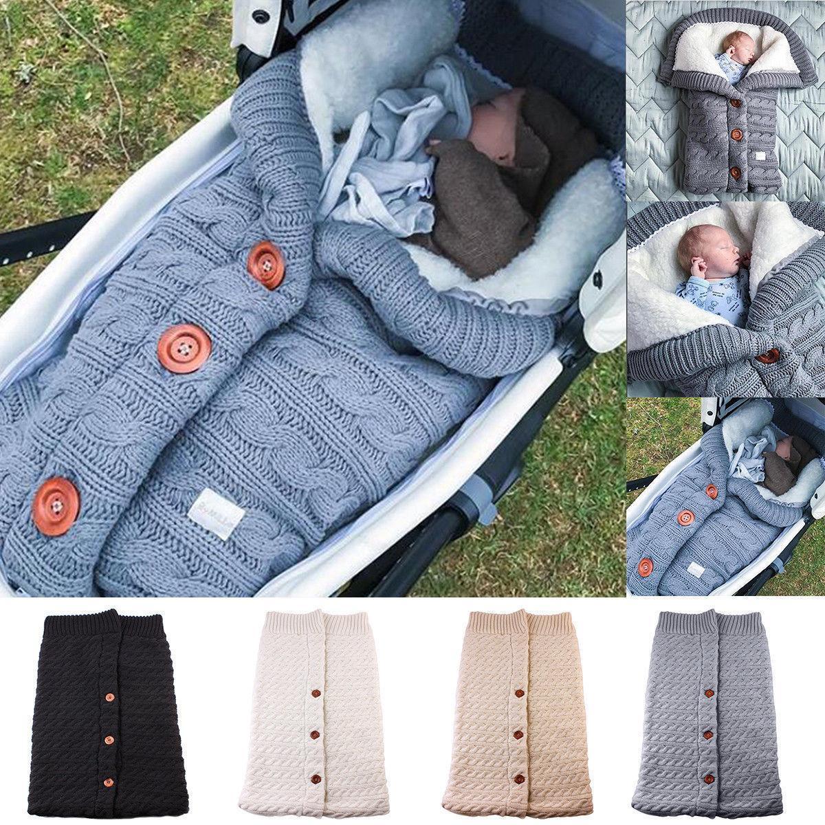 Neugeborene Baby-Winter-warme Schlafsäcke Baby-Knopf Knit Swaddle Wrap Swaddling Spaziergänger Wrap Kleinkind-Decke Schlafsäcke