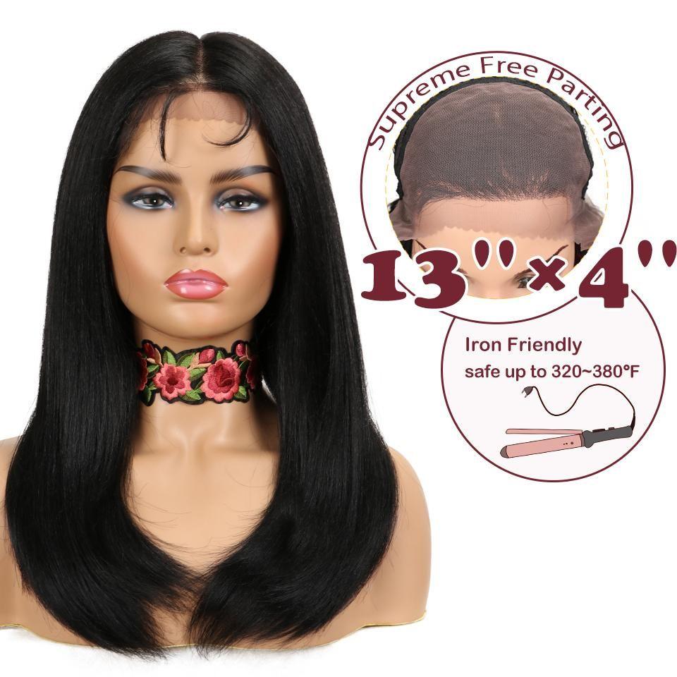 13x4 sintetica diritta merletto della parte anteriore parrucca per Black Women termoresistente Capelli Nero Rosso Colore rame Parrucche