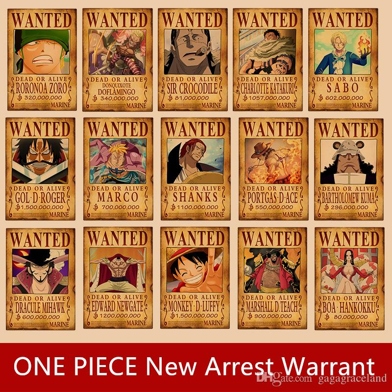 ONE PIECE latest reward for Lufei arrest wanted posters wall stickers kraft paper posters dormitory wall decorative paintings