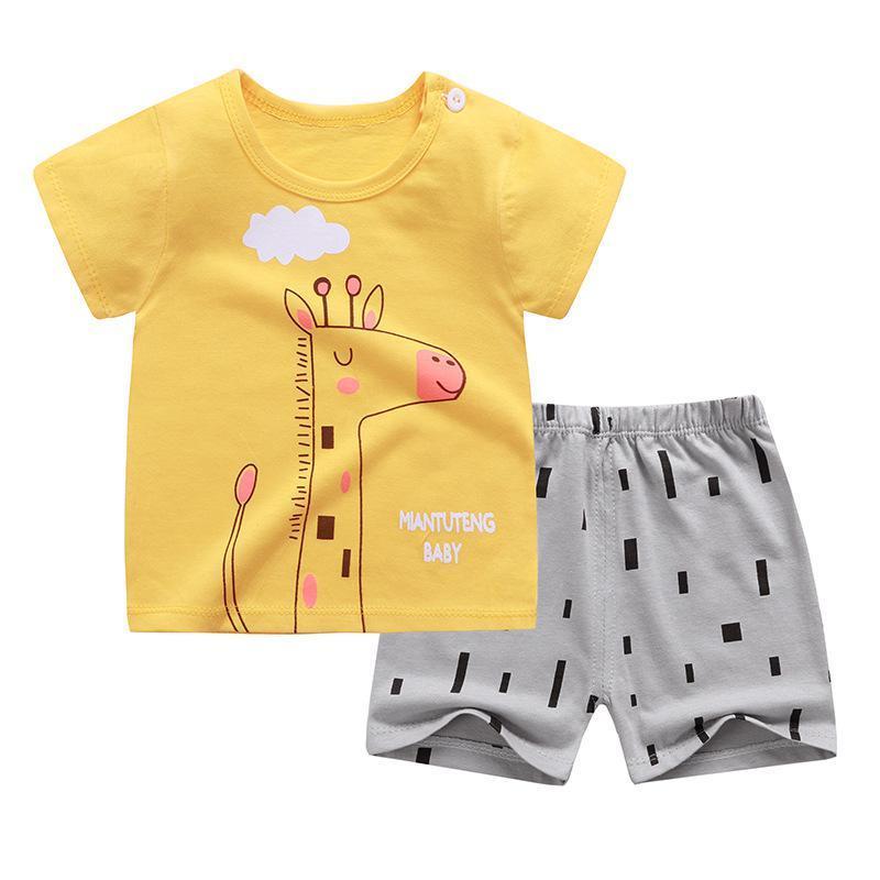 ZWY185 niños del verano nuevo corto Sleeevd camisetas + shorts del animal linda de la ropa determinada muchachas de los bebés de los pijamas