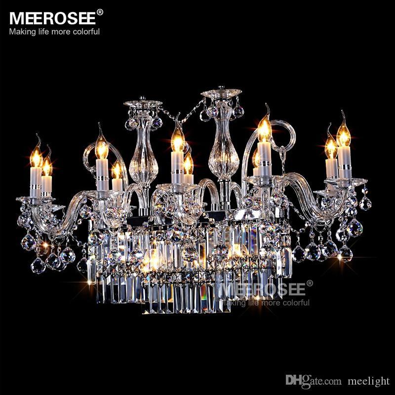 Великолепный прямоугольник Кристалл современная люстра светильник 13 огней прозрачное стекло подвесной светильник блеск подвесной светильник столовая