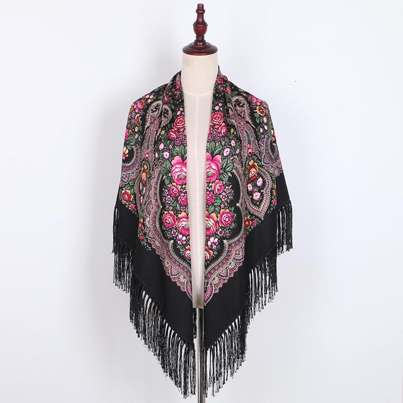Del algodón del estilo de lujo de impresión de gran tamaño cuadrados Mantas rusa mujeres novia retro Bufanda Pañuelo otoño del mantón 140 * 140 cm MX191018