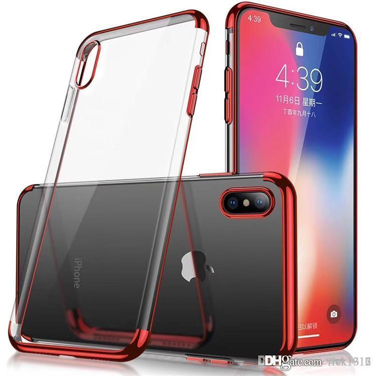 Effacer TPU souple en silicone placage étuis pour iPhone X 8 7Plus 6S Anti choc pour Galaxy Note 8 S9 plus S8 conception Cradle