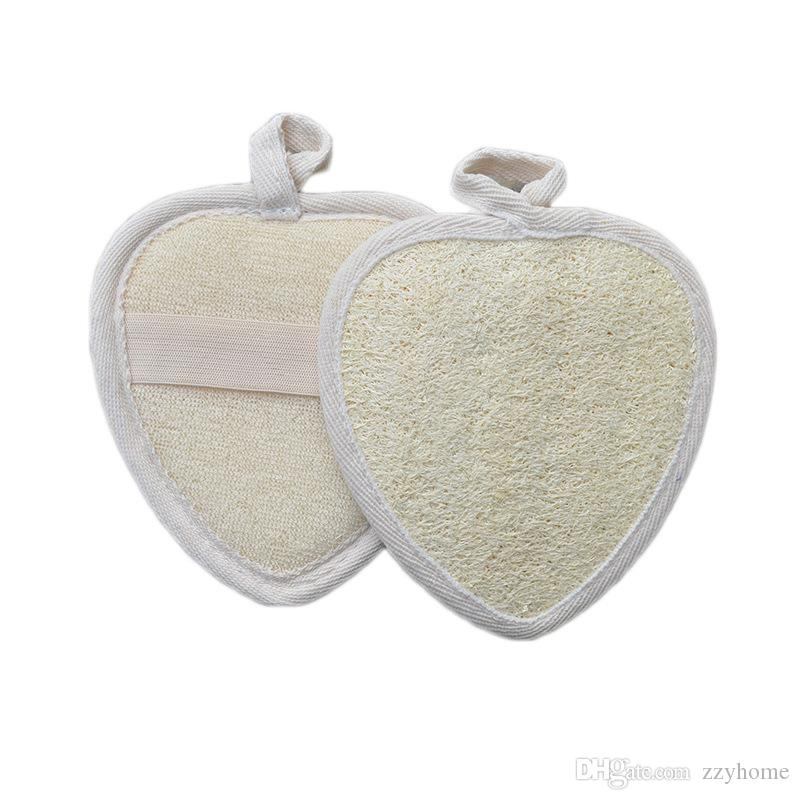 11.5x12cm en forma de corazón de ratón lufa natural Luffa Exfoliante quitar la piel muerta del masaje del balneario de gran alcance de limpieza Esponja