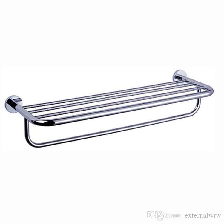 high quality 304 stainless steel brass over the door double towel rack shelf brushed with bar Decorative towel rack for hotel