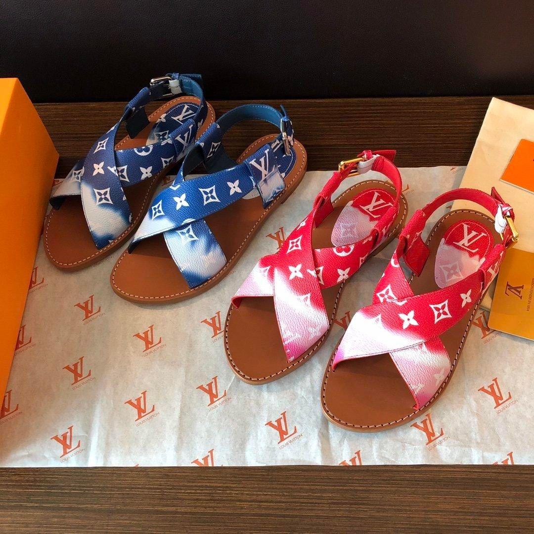 Las nuevas mujeres ESCALE PALMA planas de la correa de cuero de lujo de calidad superior sandalias de moda zapatillas casuales de cuero de los zapatos de las mujeres con la caja