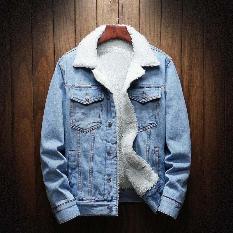 Primavera Outono Inverno Nova 2019 Mulheres lambswool jean Brasão Com 4 Pockets mangas compridas quentes Jeans Casaco Casacos Grande Denim Jacket CJ191205