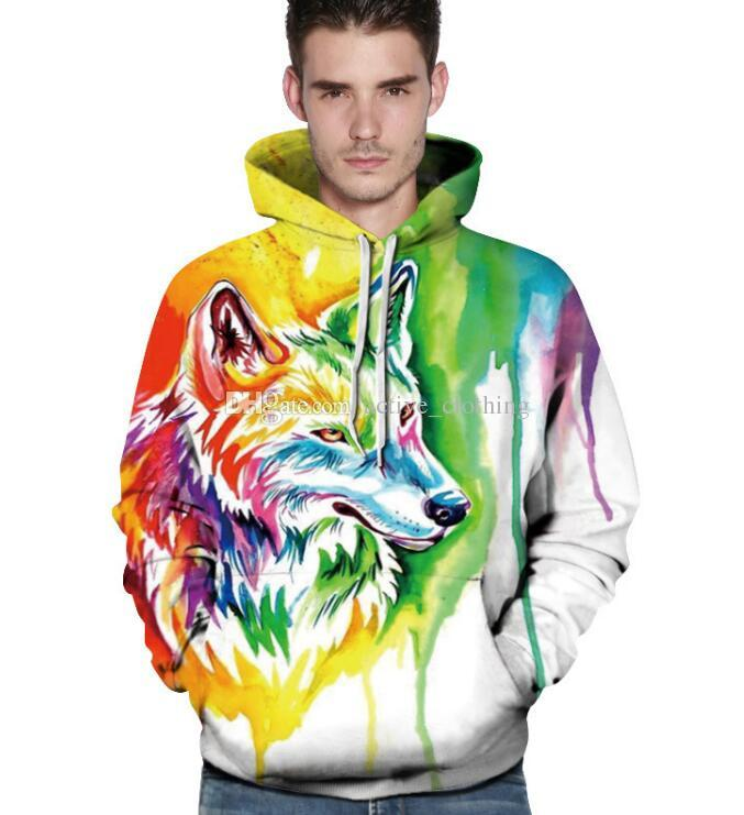 2019FREE NAKLIYE Renkli Kurt Başkanı 3D Hoodies Tişörtü Hoodies Sweatshirt Lovers'Hoodies Tişörtü Giysileri